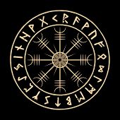 Galdrastafir. Vegvisir. Magic Navigation Compass Of Ancient Icelandic Vikings With Scandinavian Runes poster