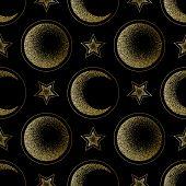Moon, Half Moon And Star Golden Luxury Seamless Pattern poster