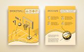 Basketball Tournament Promotional Brochure Or Advertising Flyer Line Art, Isometric Design Template  poster