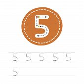 Learning To Write A Number - 5. A Practical Sheet From A Set Of Exercises For The Development And Ed poster