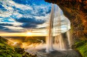 Seljalandfoss Waterfall At Sunset In Hdr, Iceland poster