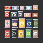 Vector Illustration Of Canned Goods. Canned Food Set For Shops, Tourism Or Food Design. Conserve Cul poster