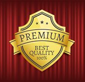 Mark Or Medal With Ribbon, High Quality, Best Choice. Guarantee Golden Sticker With Stars Symbols, O poster
