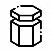 Carton Container In Hexagon Form Packaging Vector Icon Thin Line. Carton Open And Closed Packaging C poster