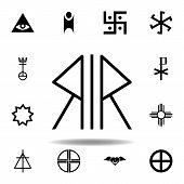 Religion Symbol, Nordic Paganism Icon. Element Of Religion Symbol Illustration. Signs And Symbols Ic poster