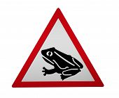 German Traffic Sign: Amphibian Hike. 3d Rendering, Isolated On White poster