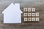 Housing Market Concept - Paper House With The Words Buy, Rent, Sell poster