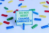 Conceptual Hand Writing Showing Do Not Resist Change Embrace It. Business Photo Showcasing Be Open T poster