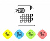 Grey Line Png File Document. Download Png Button Icon Isolated On White Background. Png File Symbol. poster