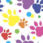 Paw Pattern, Seamless Vector Pattern Silhouettes Of Paw, Cats Feet, Dogs Footprint. Multicolor On A  poster