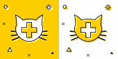Black Veterinary Clinic Symbol Icon Isolated On Yellow And White Background. Cross With Cat Veterina poster