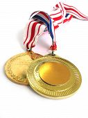 stock photo of gold medal  - 2 gold medals - JPG