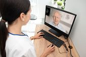 Doctor And Senior Woman Patient, Telehealth poster