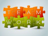 foto of teamwork  - Vector puzzle teamwork illustration  - JPG