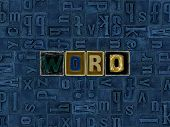 Word word As Unique Typeset Letters Abstract Mosaic Pattern Background, Lettering Symbols Collecti poster