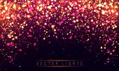 Light Abstract Glowing Bokeh Lights. Festive Purple And Golden Luminous Background With Colorful Lig poster