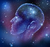 stock photo of neurology  - Human inspiration and creative intelligence with a constellation of bright stars in space in the shape of a human head illuminated on a night sky as a brain function neurology health care symbol - JPG