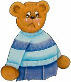 image of spoiled brat  - Hand painted Teddy Bear crying and pouting - JPG