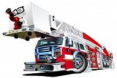 stock photo of ladder truck  - Vector Cartoon Fire Truck Hotrod - JPG