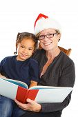 image of storytime  - a grandmother in her santa - JPG