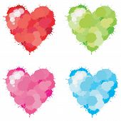 picture of sadistic  - 4 colors splatter heart set create by vector - JPG