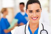 stock photo of nurse uniform  - beautiful medical nurse closeup portrait - JPG