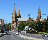 Adelaide - December 5: Traffic And Cathedral In Centre Of City. December 5, 2007 In Adelaide, Austra