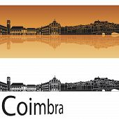 Coimbra Skyline In Orange Background