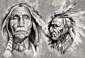stock photo of aborigines  - Native american indian head - JPG