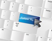 stock photo of follow-up  - Follow me Keyboard Concept with a blue glossy button - JPG