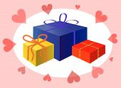 picture of bordure  - Holiday presents and hearts - JPG