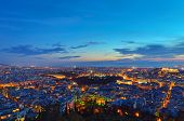 picture of piraeus  - View over Athens after sunset from Mount Lycabettus - JPG