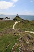 stock photo of anglesey  - llanddwyn island  light house on the isle of Anglesey - JPG