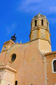 Facade of Church of Sant Bartomeu i Santa Tecla in Sitges, Spain