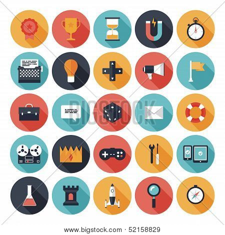Game Design Flat Icons Set poster