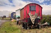 foto of gypsy  - Gypsy vardos on the country lane to Chipping Campden - JPG