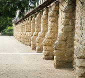 foto of boise  - historic brown block boise prison wall in perspective  - JPG