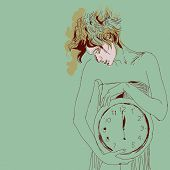 picture of emaciated  - Conceptual portrait of woman with big clock - JPG