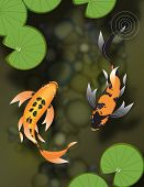stock photo of butterfly fish  - Stylized butterfly koi fish swimming in a pond with lily pads - JPG