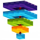 stock photo of merge  - An image of a 3d cube funnel - JPG