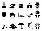 pic of fire insurance  - isolated insurance icons set on white background - JPG