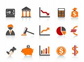picture of clip-art staff  - isolated simple bank iconscolor series from white background - JPG