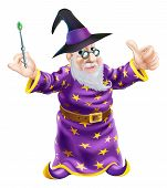 picture of merlin  - Illustration of a happy cartoon wizard character holding a wand and giving a thumbs up - JPG