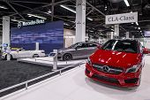ANAHEIM, CA - OCTOBER 3: Mercedes CLA class automobiles on display at the Orange County Internationa