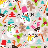 Seamless snow man ginger bread man and reindeer christmas friends illustration background pattern in