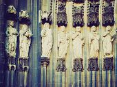 foto of koln  - Vintage looking Ancient medieval statues at Koelner Dom  - JPG