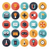picture of emblem  - Modern flat icons vector collection with long shadow effect in stylish colors of different elements on game design and development theme - JPG