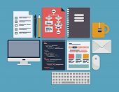 stock photo of sketche  - Flat design vector illustration icons set of web page programming user interface elements and workflow objects - JPG