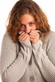 foto of shivering  - Woman blowing in her hands when feeling cold isolated - JPG