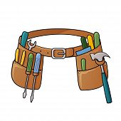 stock photo of leather tool  - Vector illustration of tool belt with different tools for construction - JPG